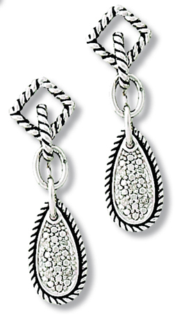 Sterling Reputation diamond and silver drop earrings