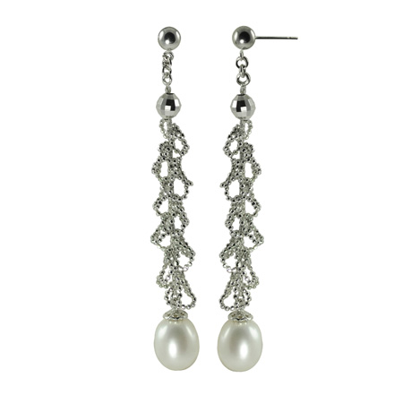 silver and freshwater pearl earrings from Imperial Pearls' Imperial Lace collection