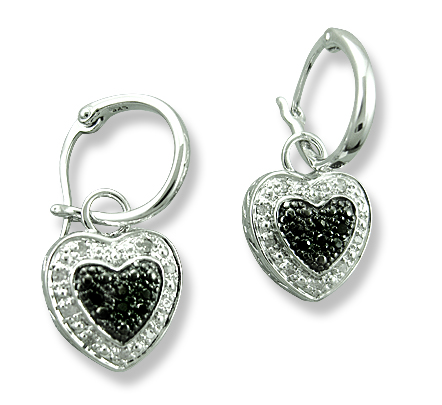 Sterling Reputation diamond and silver earrings