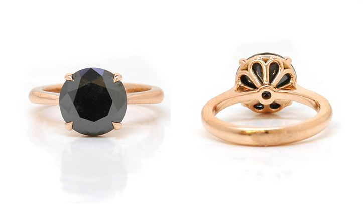 Leibish Co. black diamond solitaire ring