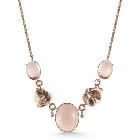 Mary Esses 18k gold necklace pink quartz
