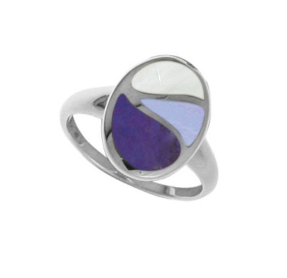 Boma silver ring with mother-of-pearl and purple turquoise