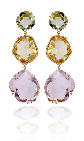 Vianna Amorphous earrings in 18k gold precious stones