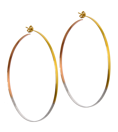 Lana Jewelry Colorblocked Mega hoops in gold