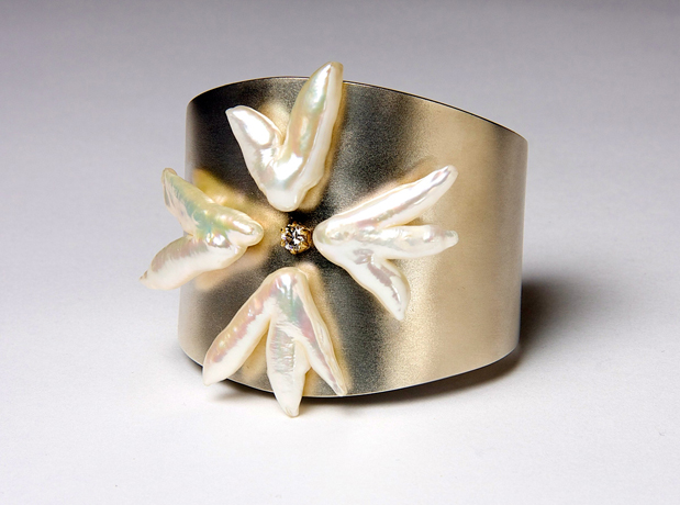 Silver cuff with pearl Maltese cross by Lee Wiser McIntosh