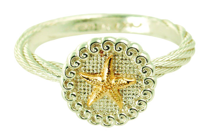 The Touch Starfish ring in silver with 14k gold applique
