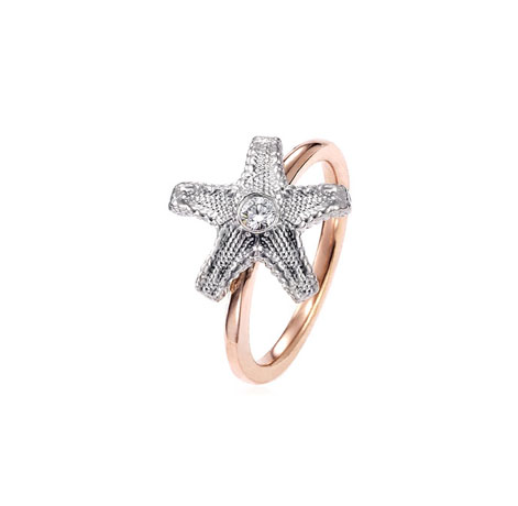 Rebekah Lea 14k rose gold, silver, and diamond starfish ring