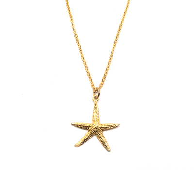Zara Taylor brass starfish pendant on 16k gold-plated brass chain