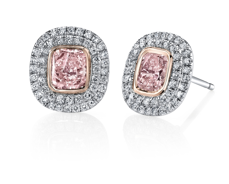 Joshua J pink diamond stud earrings