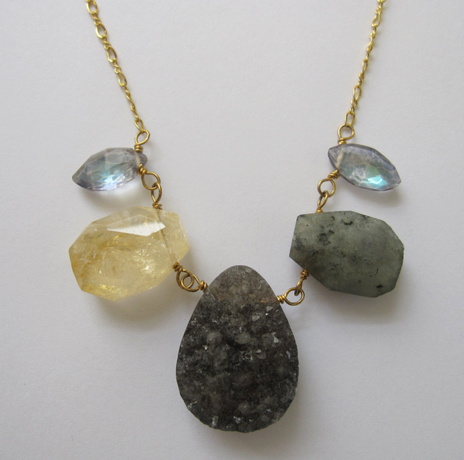 A.V. Max necklace in 22k gold-plated brass with rutilated quartz, drusy, labradorite, and glass