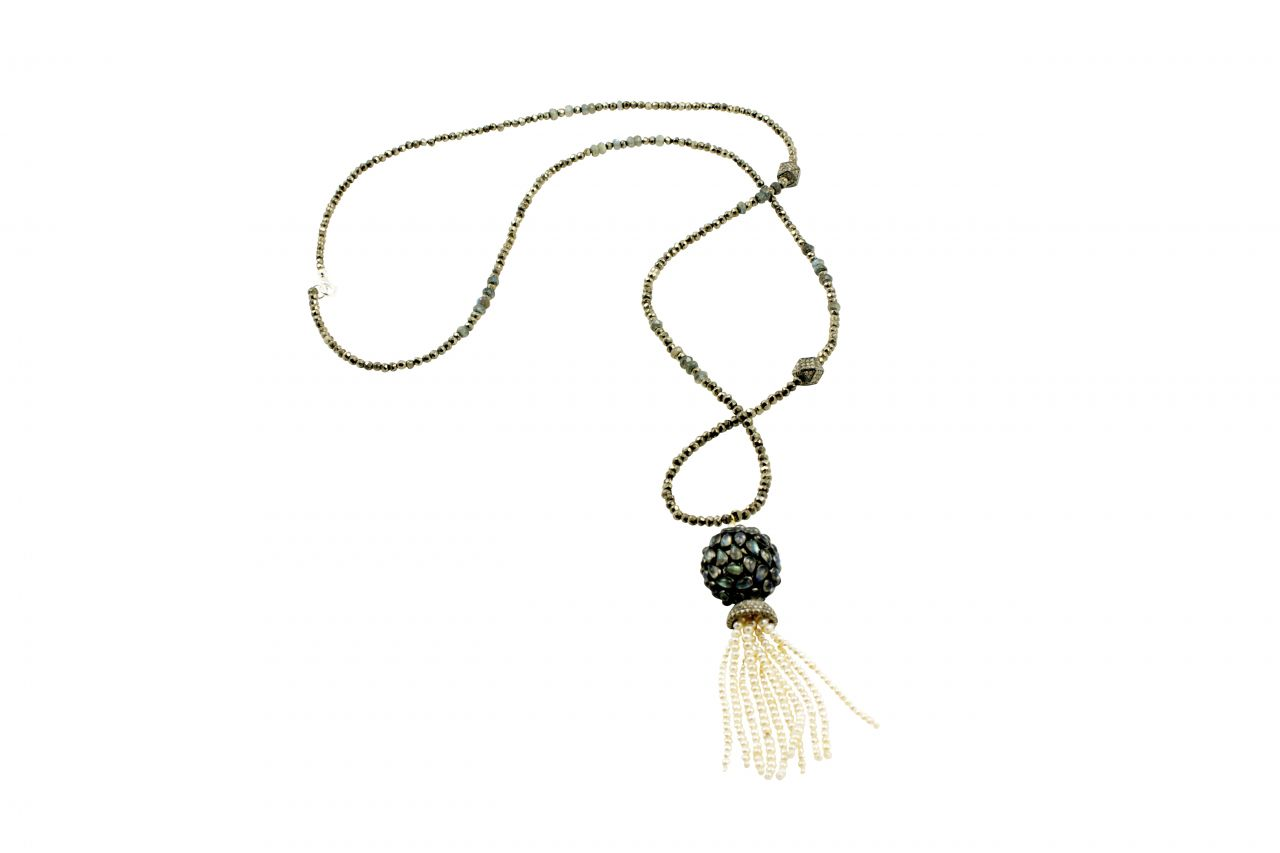 J. Hadley necklace with silver, pyrite, labradorite, and a pearl tassel with diamonds