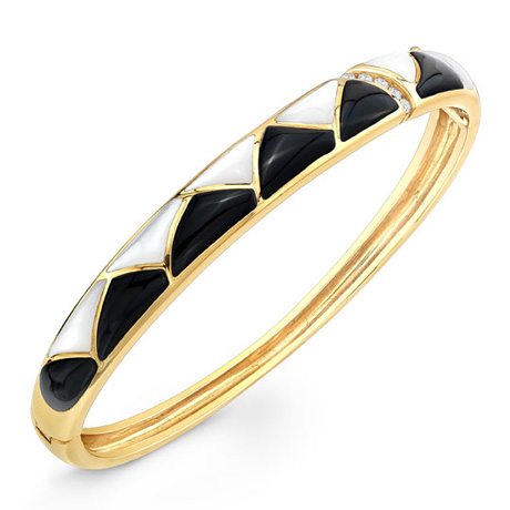 Kabana yellow gold bangle with black onyx and white mother of pearl