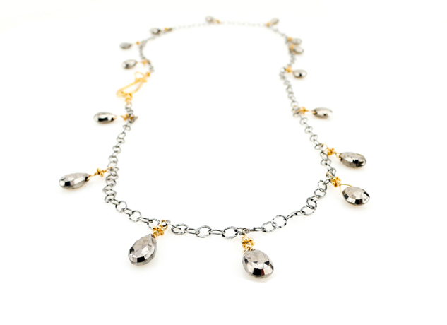 Robindira Unsworth necklace in silver with pyrite and 22k gold vermeil