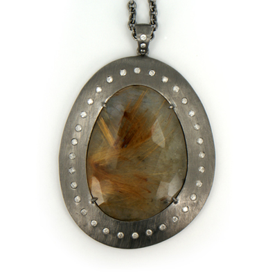 S & R Design sterling and rutilated quartz pendant with diamonds