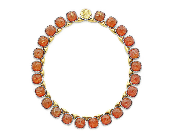 Tacori rutilated quartz and red onyx necklace in silver and 18k gold
