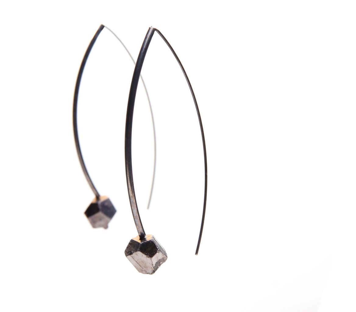 Vanessa Leu 18k gold and pyrite earrings