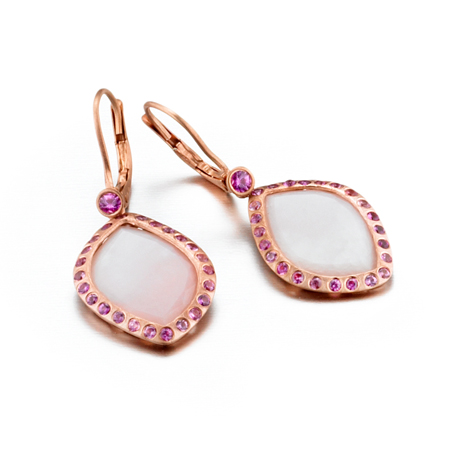 14k gold earrings with pink opal from ZAIKEN Jewelry