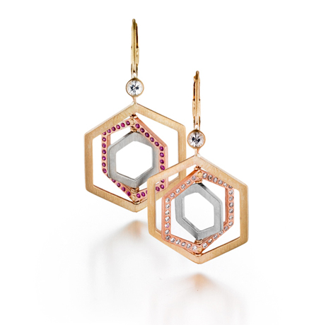 Spinning Hex earrings in 14k gold with gemstones