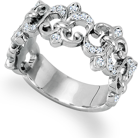 Stuller diamond and platinum fleur-de-lit ring