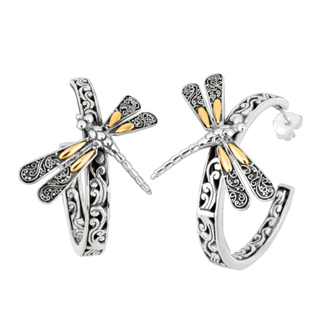 Phillip Gavriel for Royal Chain silver and 18k gold Dragonfly earrings