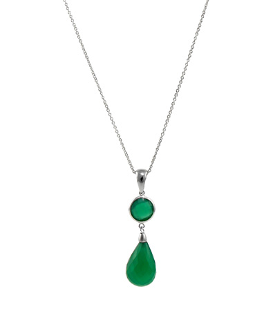 Green onyx necklace in 14k gold by Jewelmak