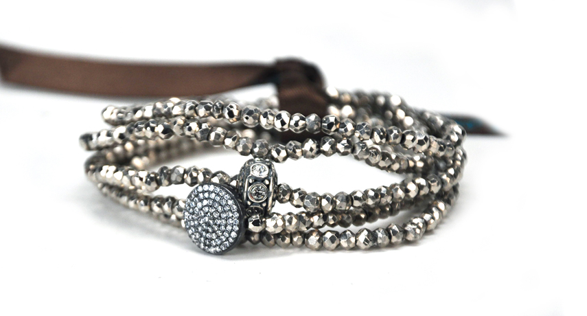 Mary Louise pyrite, silver, and CZ bracelets