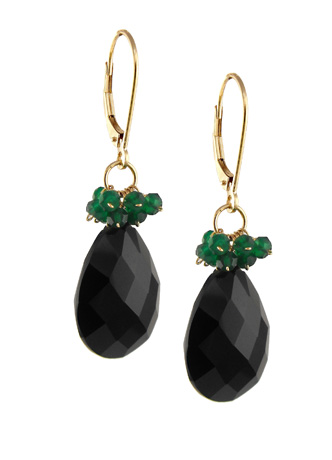 Black and green onyx earrings in 14k gold by Jewelmak