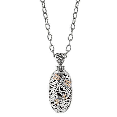 Phillip Gavriel for Royal Chain silver and 18k gold Dragonfly oval-shape pendant necklace