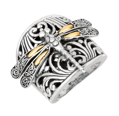 Phillip Gavriel for Royal Chain silver and 18k gold  Dragonfly ring