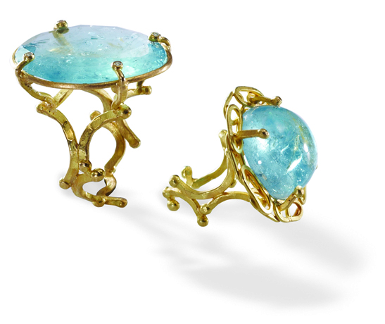 Aquamarine and 18k gold rings from Julieli
