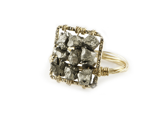 Gold-filled and pyrite ring from Pomp and Circumstance