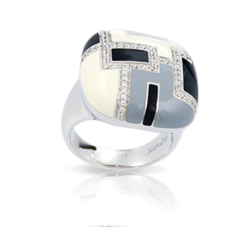 Art Deco ring in silver with CZ and hand-painted enamel from Belle Etoile
