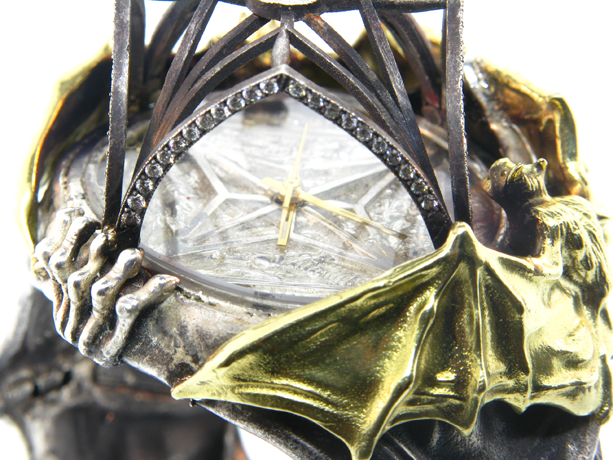 The Bat Watch in oxidized silver and 18k gold with diamonds by Atelier Minyon