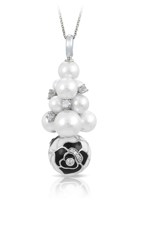 Belle Etoile silver pendant necklace with shelll pearl and Italian hand-painted enamel and CZ