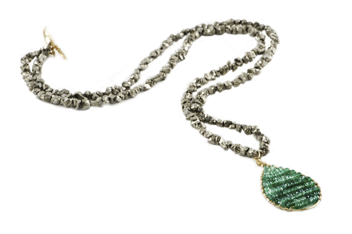 Necklace in gold fill with pyrite and green onyx from Pomp and Circumstance