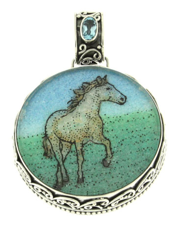 Gemstone horse mosaic from Samuel Behnam Jewelry