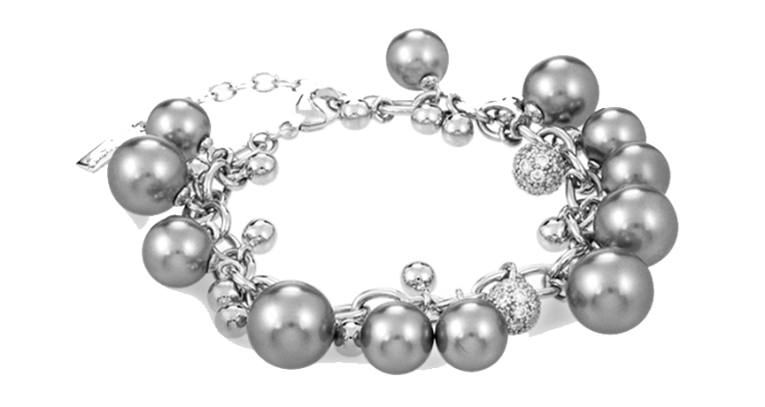 Indulgence bracelet in silver with shell pearls and CZ by Belle Etoile