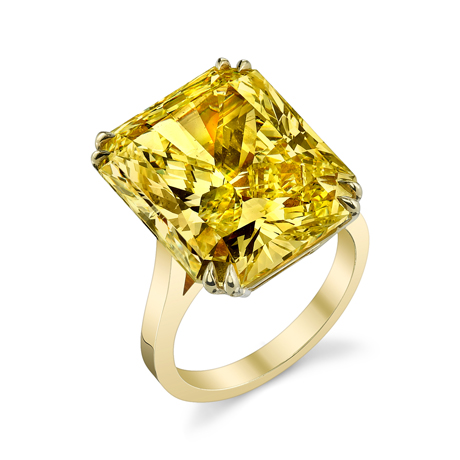 Joshua J GIA-certified internally flawless fancy intense yellow radiant-cut diamond ring
