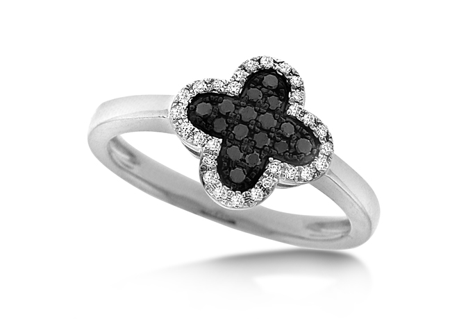 KC Designs 14k gold and black and colorless diamonds