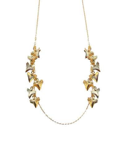 14k gold plated brass shark tooth necklace by Tiffany Chou