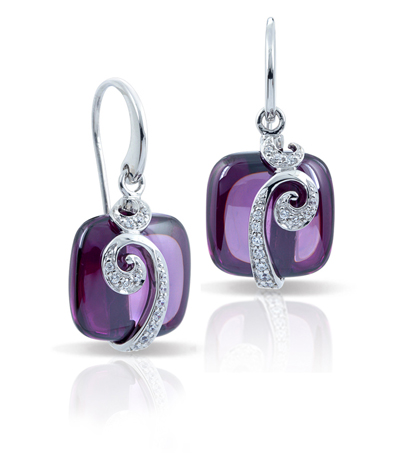 Vigne amethyst earrings in silver with CZ by Belle Etoile