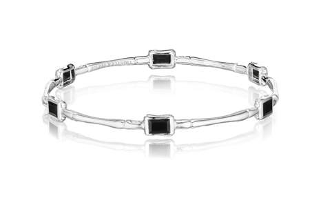 Thistle & Bee silver stackable Bamboo bangle with black onyx