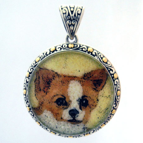 Gemstone dog mosaic from Samuel Behnam Jewelry