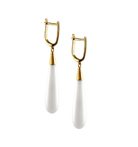 Jewelmak 14k gold drop earrings with white agate
