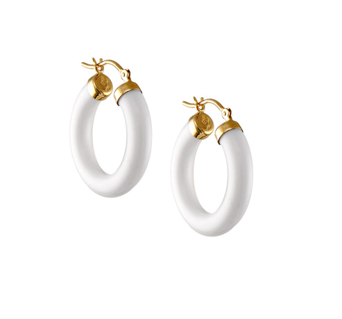 Jewelmak 14k gold hoop earrings with white onyx