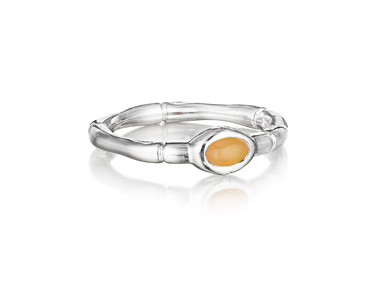 Thistle & Bee Mini Bamboo stackable ring in silver with citrine
