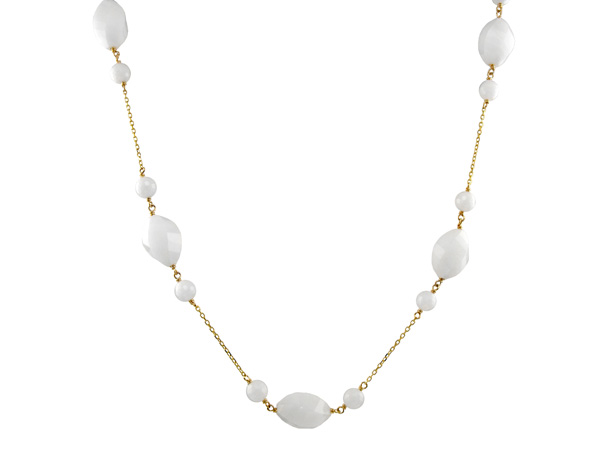 Jewelmak 14k gold necklace with white quartz