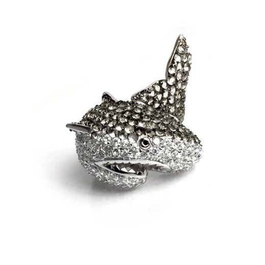 rhodium-plated brass shark ring with cubic zirconia by Noir Jewelry