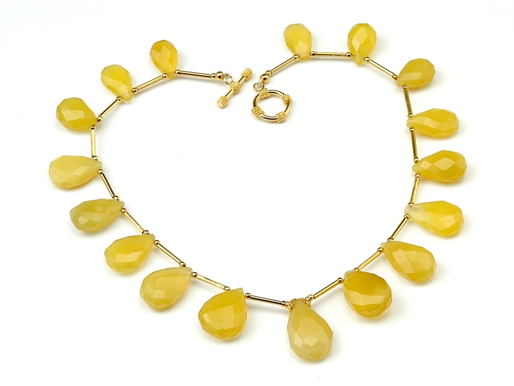 Indo-American yellow chalcedony necklace