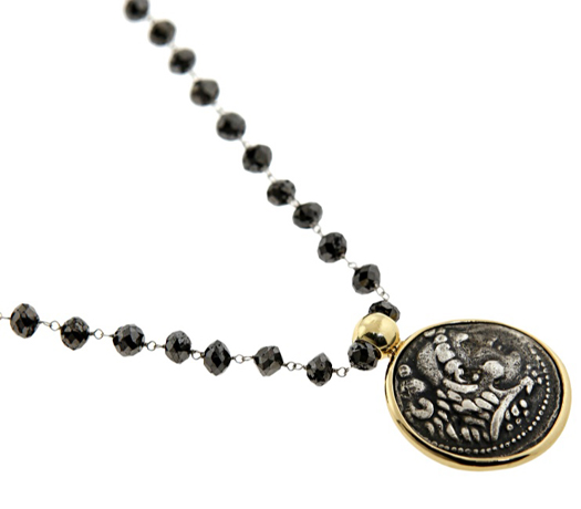 Black diamond and coin necklace from 1884 Collection